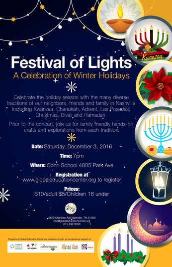 Event flyer for Festival of Lights event in December 2016. Has seasonal light displays from numerous cultural traditions.